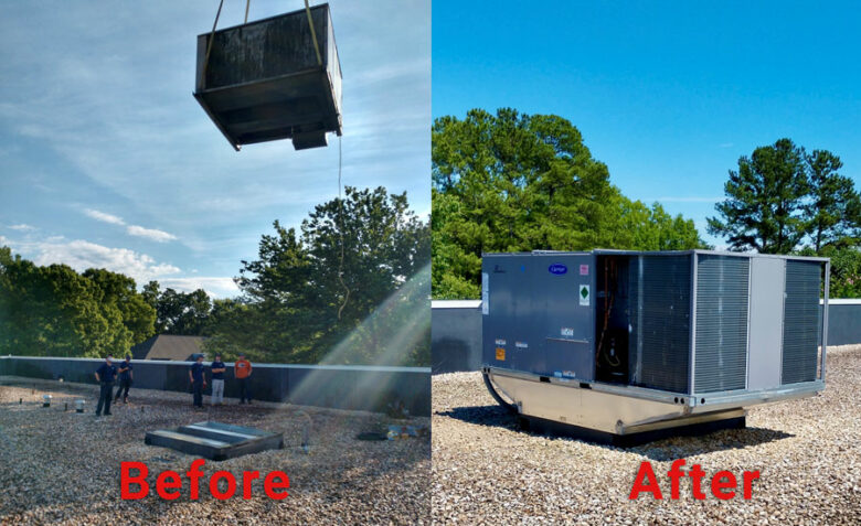 Air conditioning Installation Contractor in Knightdale for commercial RTU removal and replacement