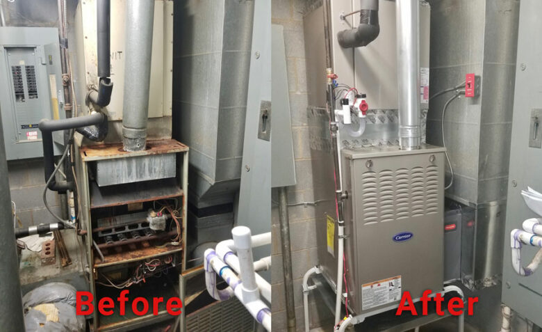 Residential air conditioning installation contractor for Carrier in Youngsville, NC: Before & After
